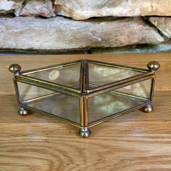 Vintage Brass Glass Jewelry Box 2-sided Mexico Lid